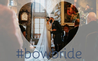 Katrina in Dracma wedding gown by Pronovias at Eilean Donan Castle