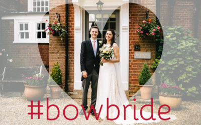 Gemma in bespoke wedding dress at Surrey wedding venue